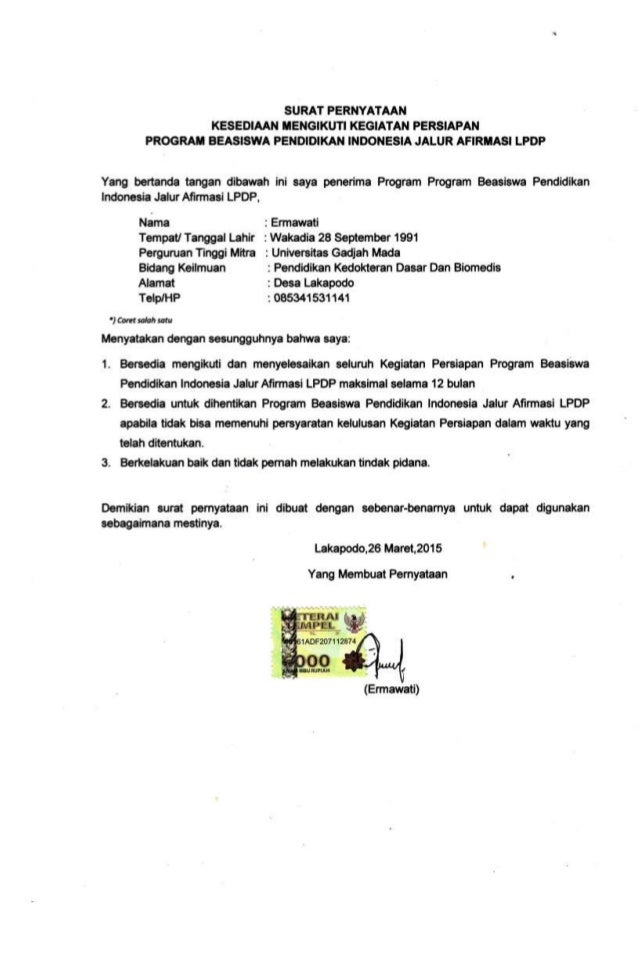 contoh surat pernyataan mengikuti kegiatan contoh raw