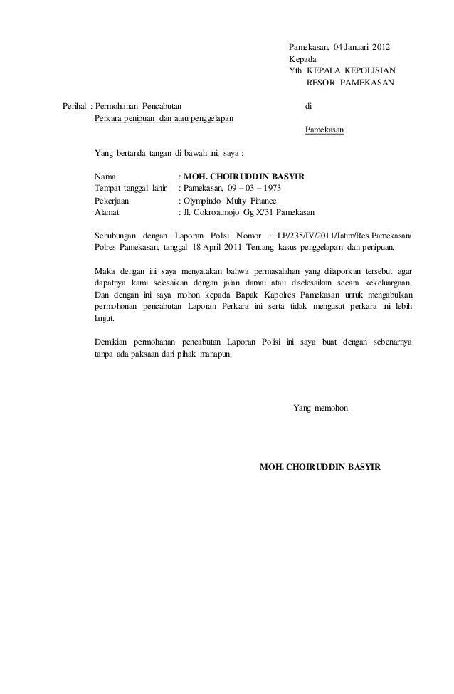 Contoh Surat Kuasa Laporan Ke Polisi