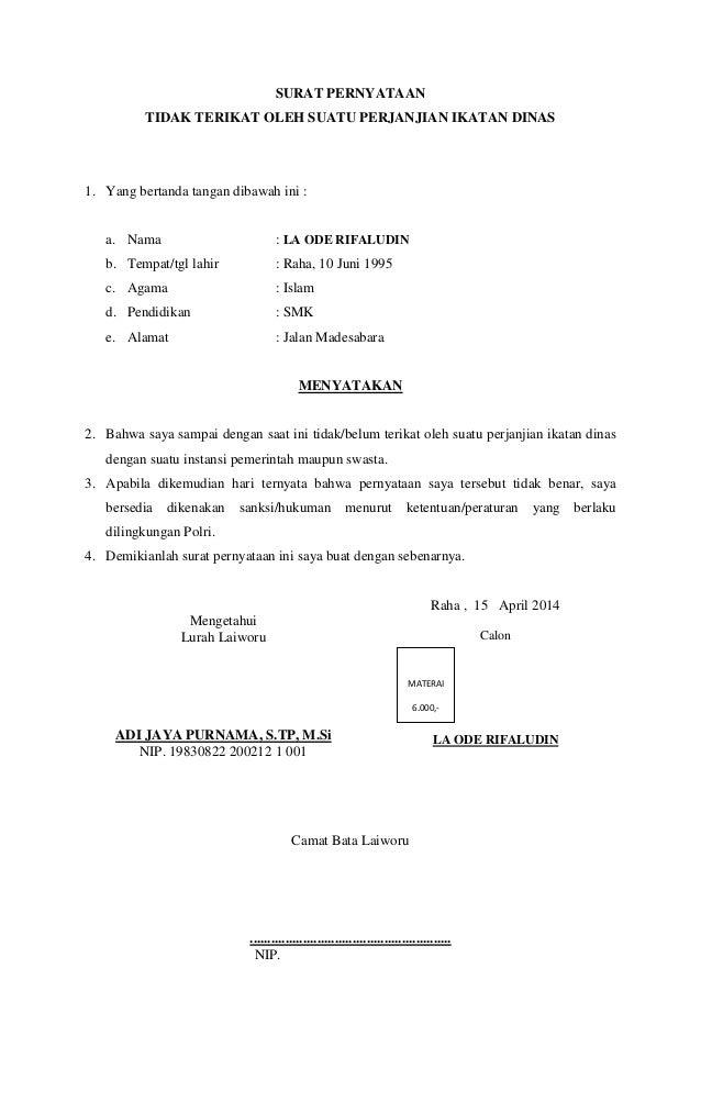 Surat Peryataan Tidak Terikat Oleh Suatu Perjanjian Ikatan Dinas Brig