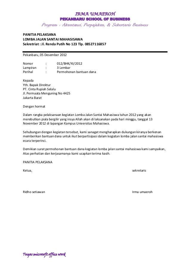 Surat Proposal Bantuan Dana