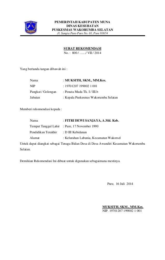 PEMERINTAH KABUPATEN MUNA DINAS KESEHATAN PUSKESMAS WAKORUMBA SELATAN Jl. Sangia Pure-Pure No. 01, Pure 93674 SURAT REKOME...