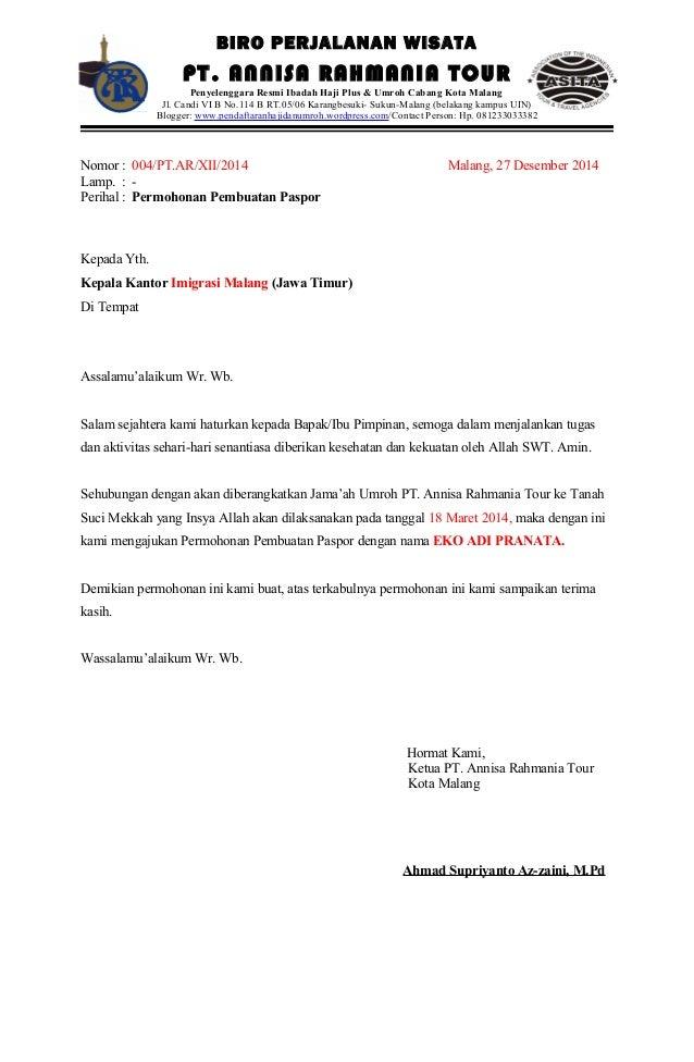 Surat rekomendasi pembuatan paspor pt. annisa rahmania tour