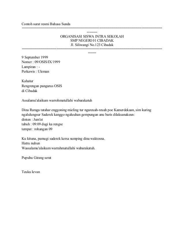 Contoh Surat Tidak Resmi Dalam Bahasa Sunda