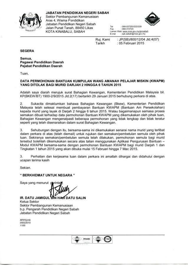 Surat Siaran Data Permohonan Bantuan Kwapm Yang Ditolak Bagi Murid