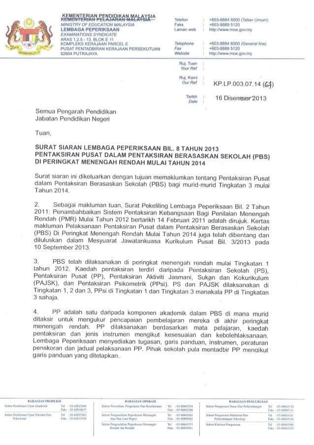 Surat siaran lembaga peperiksaan bil. 8 tahun 2013