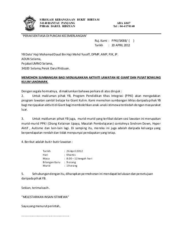 Contoh Surat Memohon Sumbangan Program Villamoodgood S Diary