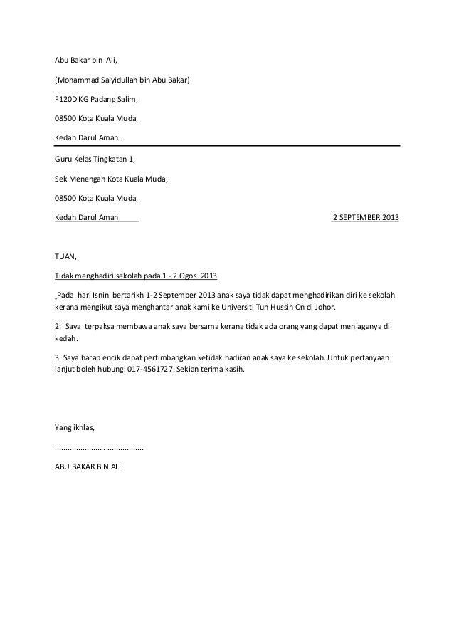 Surat tak hadir ke sekolah