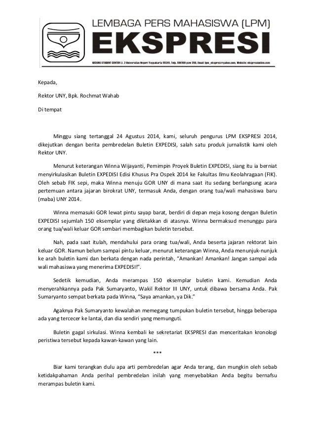 surat terbuka kepada rektor uny