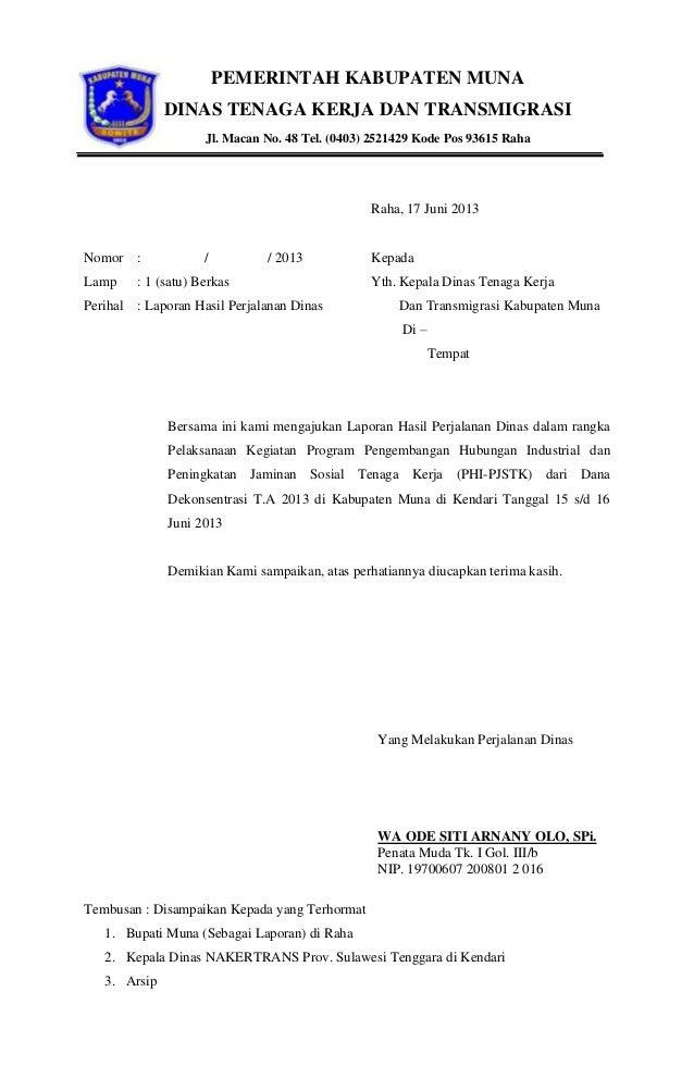 Surat Tugas Dinas Tenaga Kerja Dan Transmigrasi Kabupaten Muna