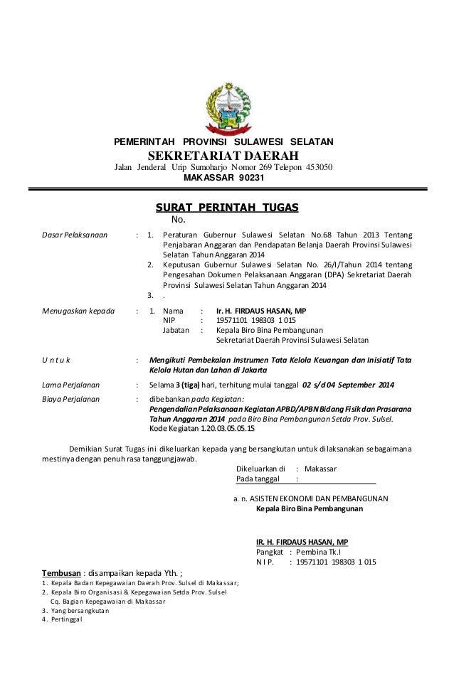Surat tugas luar - fispra 2014