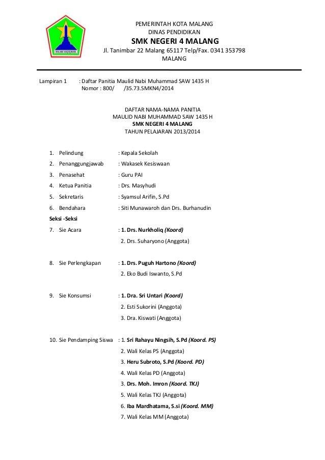 PEMERINTAH KOTA MALANG DINAS PENDIDIKAN  SMK NEGERI 4 MALANG  Jl. Tanimbar 22 Malang 65117 Telp/Fax. 0341 353798 MALANG La...