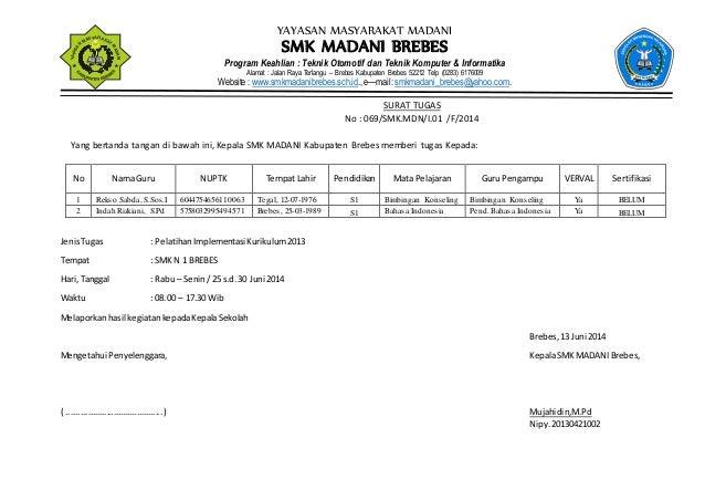 Surat Tugas Pelatihan Kurikulum 2013 02