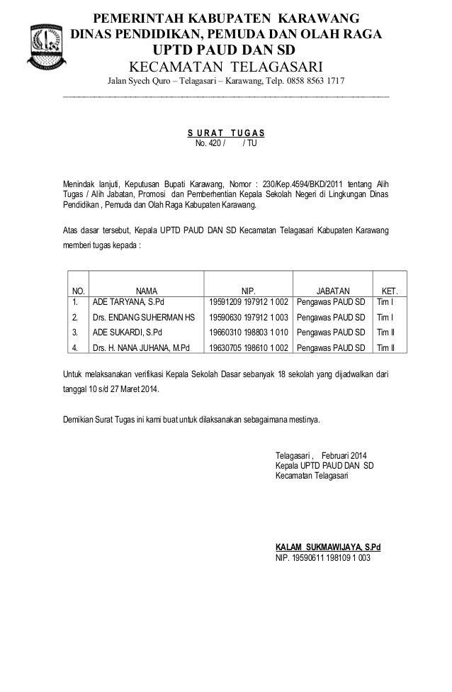 Surat Tugas Verifikasi 2014