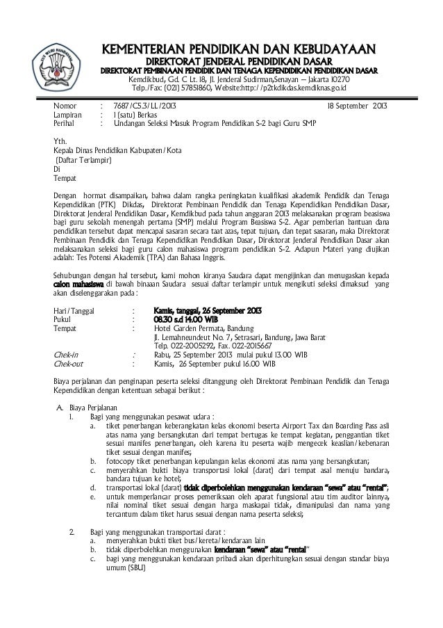 surat undangan pemanggilan tes seleksi beasiswa 2013