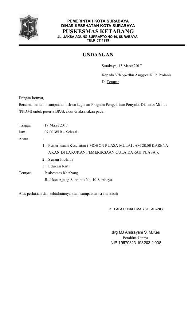 Surat Undangan Prolanis Bln Maret 17