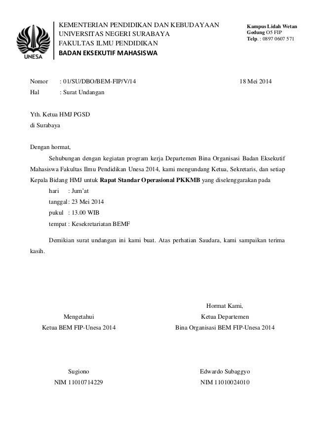 Surat undangan standar operasional pkkmb BEM-FIP 2014