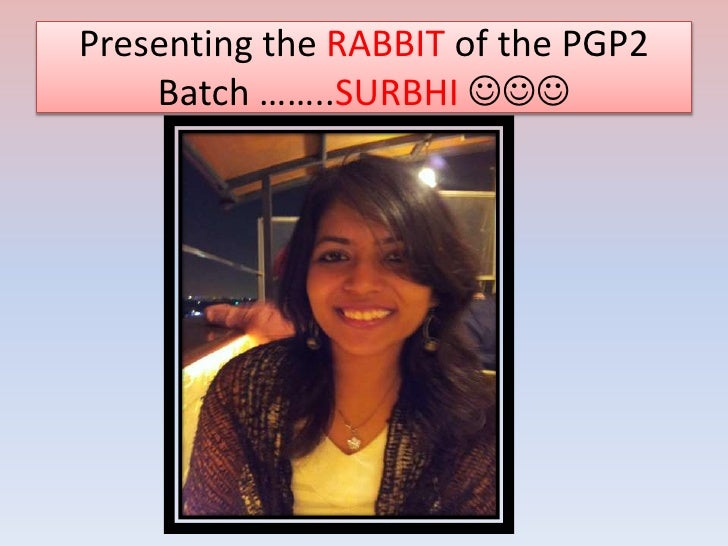 Presenting the RABBIT of the PGP2    Batch ……..SURBHI 