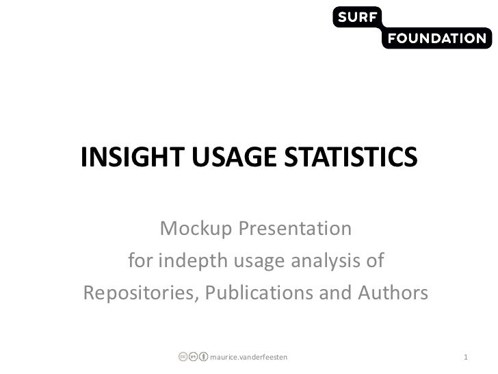 INSIGHT USAGE STATISTICS        Mockup Presentation    for indepth usage analysis ofRepositories, Publications and Authors...