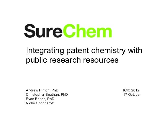 Integrating patent chemistry withpublic research resourcesAndrew Hinton, PhD         ICIC 2012Christopher Southan, PhD   1...