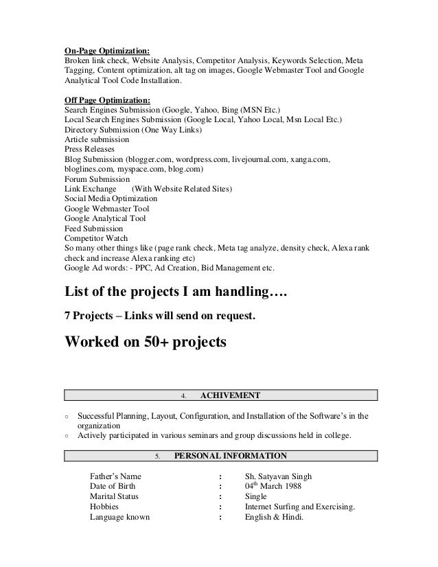 SEO Resume Sample Surender kumar resume