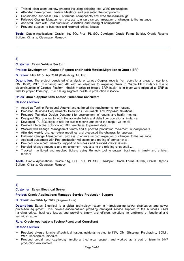 oracle functional consultant resume