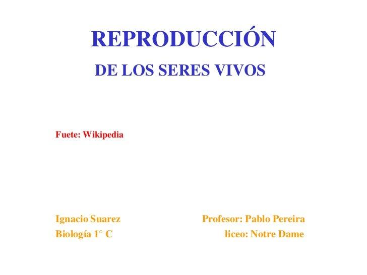 REPRODUCCIÓN         DE LOS SERES VIVOSFuete: WikipediaIgnacio Suarez      Profesor: Pablo PereiraBiología 1° C           ...