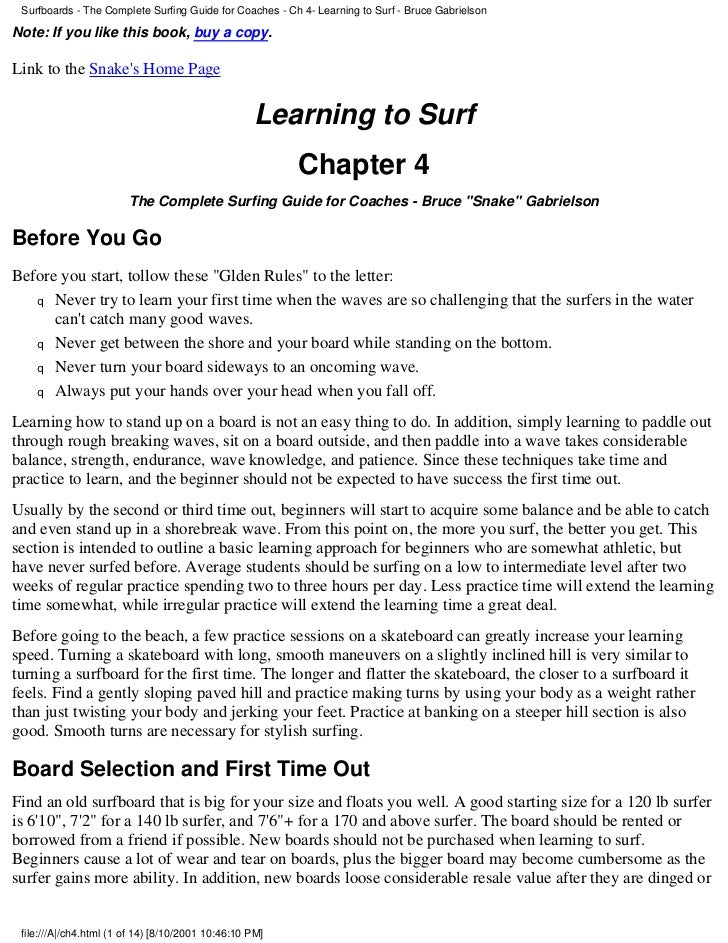 Surfboards - The Complete Surfing Guide for Coaches - Ch 4- Learning to Surf - Bruce GabrielsonNote: If you like this book...