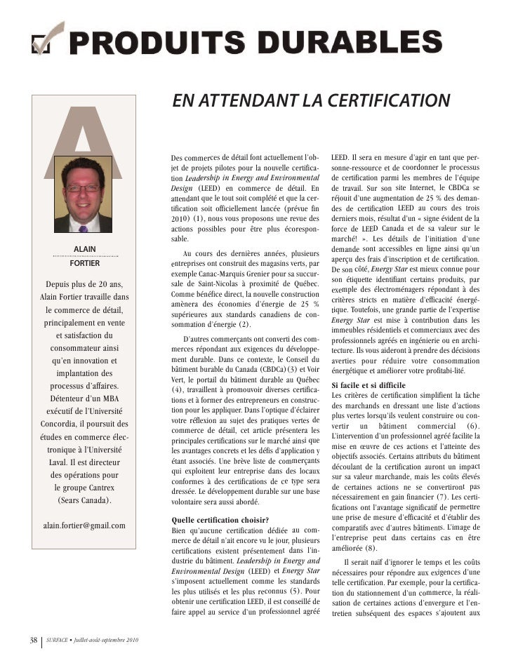 Magazine Surface - En attendant la certification - Alain Fortier