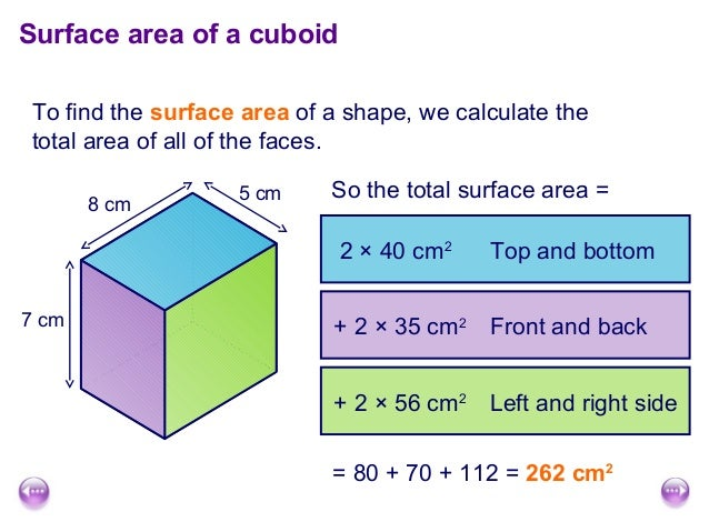 surface area and cm