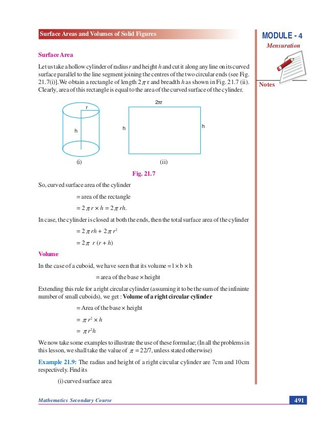 SURFACE AREAS AND VOLUMES OF SOLID FIGURES - MENSURATION