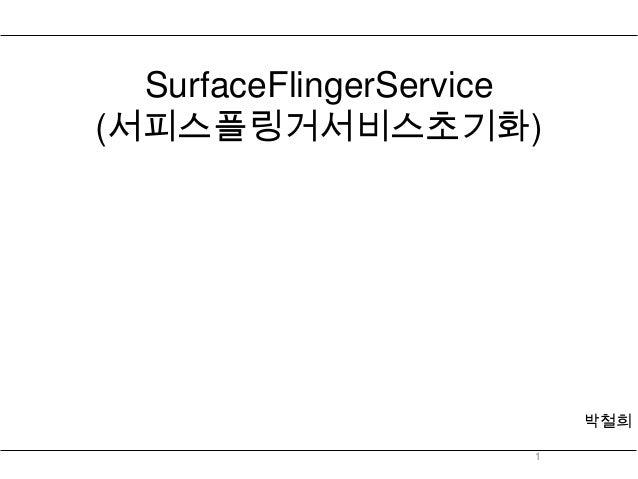 SurfaceFlingerService(서피스플링거서비스초기화)                          박철희                      1
