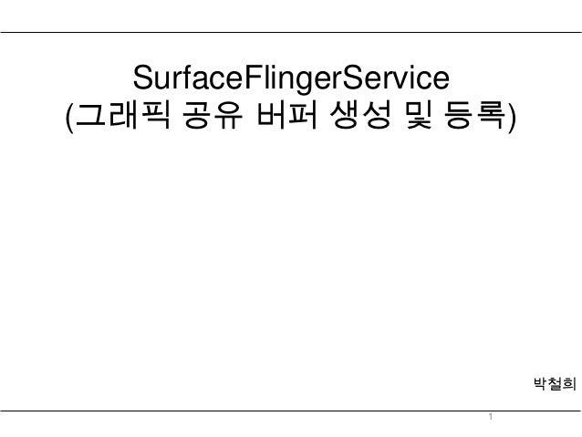 SurfaceFlingerService(그래픽 공유 버퍼 생성 및 등록)                           박철희                      1