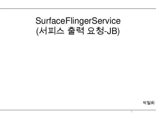 SurfaceFlingerService(서피스 출력 요청-JB)                            박철희                        1