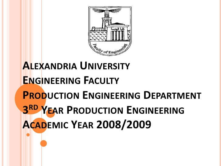 Alexandria UniversityEngineering FacultyProduction Engineering Department3rd Year Production EngineeringAcademic Year 2008...