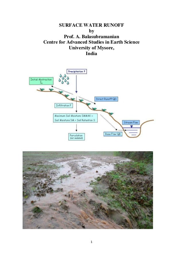 1 SURFACE WATER RUNOFF by Prof. A. Balasubramanian Centre for Advanced Studies in Earth Science University of Mysore, India