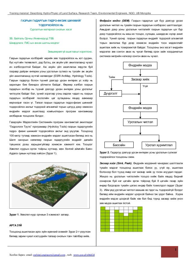 Training material: Describing Hydro-Physic of Land Surface, Research Team, Environmental Engineers, NGO, UB Mongolia ГАЗРЫ...