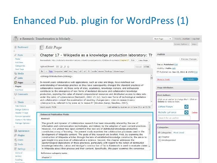 Enhanced Pub. plugin for WordPress (1)