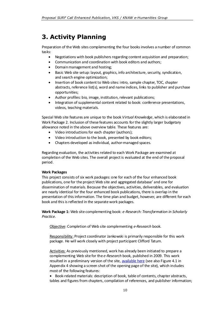 Proposal SURF Call Enhanced Publication, VKS / KNAW e-Humanities Group3. Activity PlanningPreparation of the Web sites com...