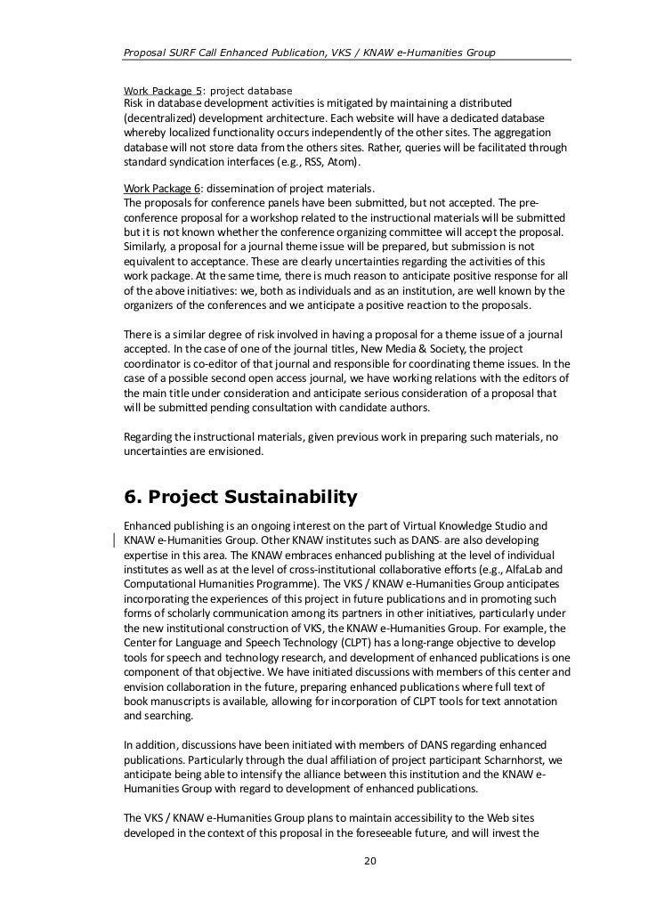Proposal SURF Call Enhanced Publication, VKS / KNAW e-Humanities GroupWork Package 5: project databaseRisk in database dev...