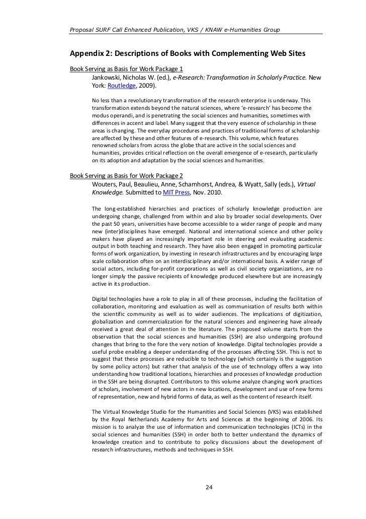 Proposal SURF Call Enhanced Publication, VKS / KNAW e-Humanities GroupAppendix 2: Descriptions of Books with Complementing...