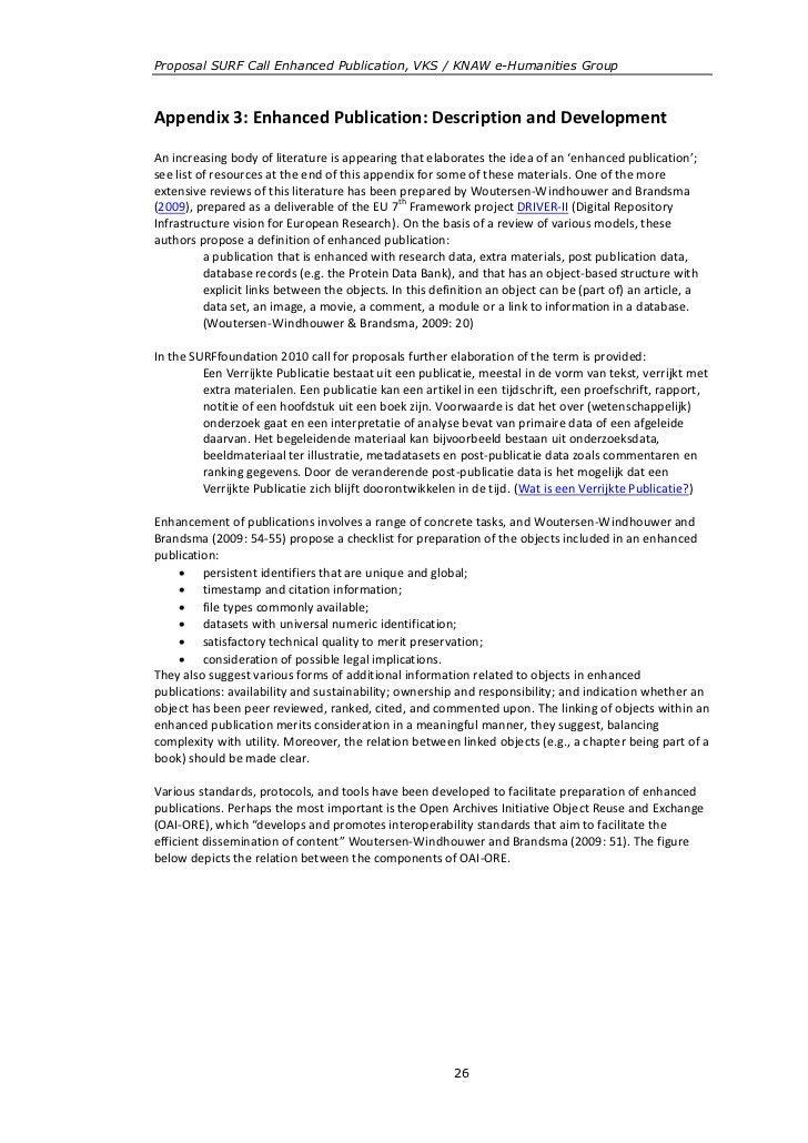 Proposal SURF Call Enhanced Publication, VKS / KNAW e-Humanities GroupAppendix 3: Enhanced Publication: Description and De...