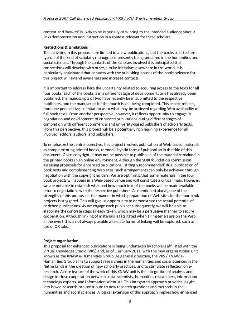 Proposal SURF Call Enhanced Publication, VKS / KNAW e-Humanities Groupcontent and 'how-to' is likely to be especially conv...