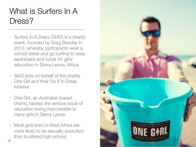 What is Surfers In A Dress? • Surfers In A Dress (SIAD) is a charity event, founded by Greg Beazley in 2012, whereby parti...