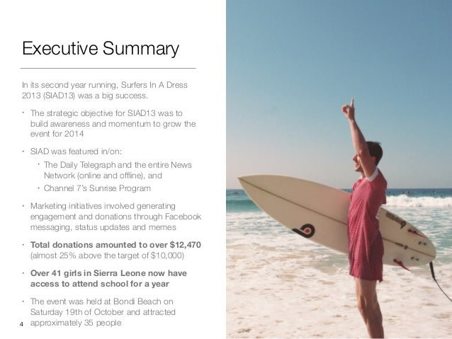 Executive Summary In its second year running, Surfers In A Dress 2013 (SIAD13) was a big success. • The strategic objectiv...