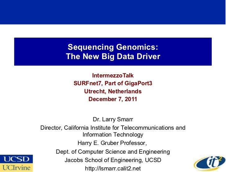 Sequencing Genomics: The New Big Data Driver IntermezzoTalk SURFnet7, Part of GigaPort3 Utrecht, Netherlands December 7, 2...