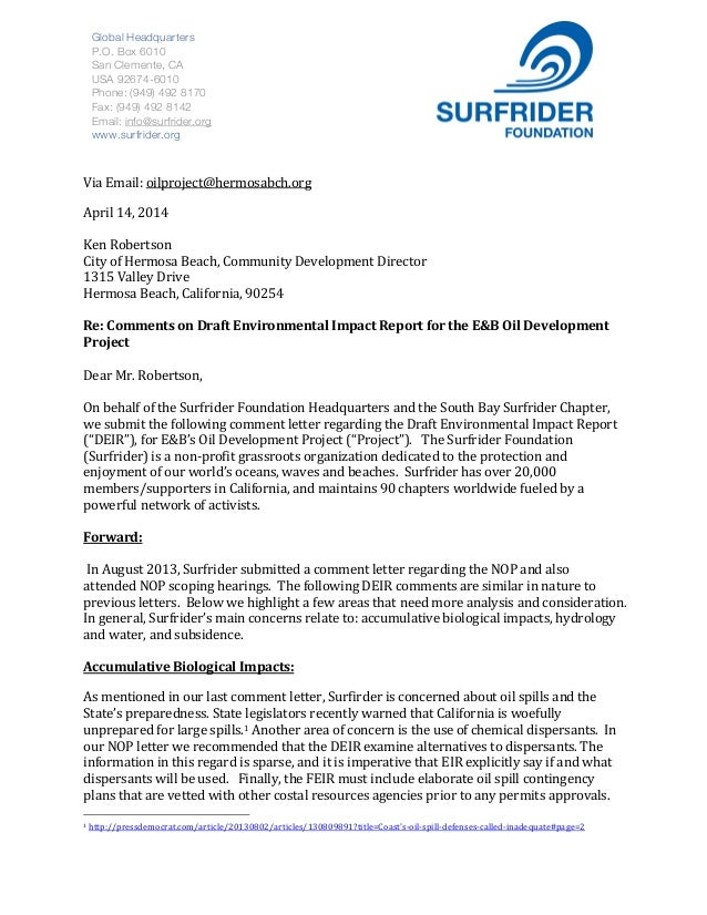 Via  Email:  oilproject@hermosabch.org     April  14,  2014      Ken  Robertson     City...