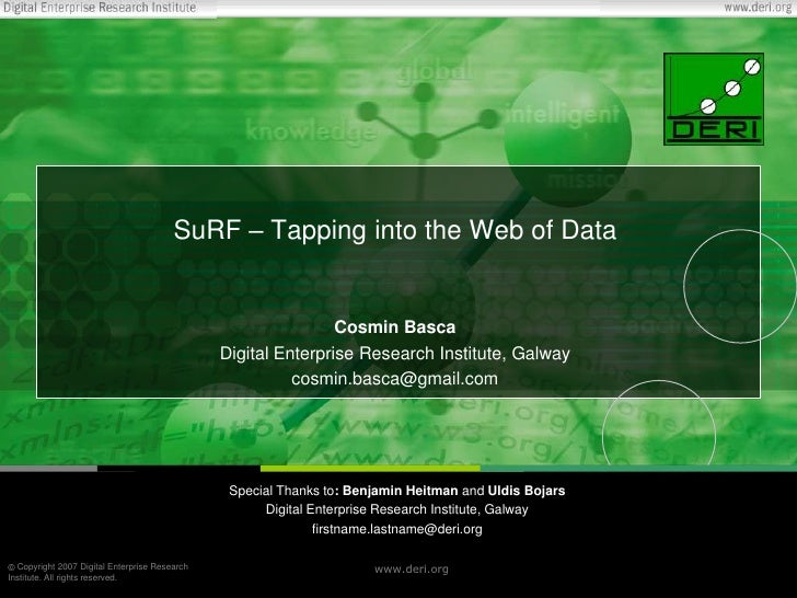 SuRF – Tapping into the Web of Data<br />Cosmin Basca<br />Digital Enterprise Research Institute, Galway<br />cosmin.basca...
