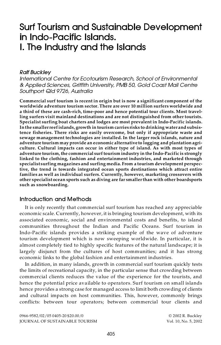 Surf Tourism and Sustainable Development in Indo-Pacific Islands. I. The Industry and the Islands  Ralf Buckley Internatio...