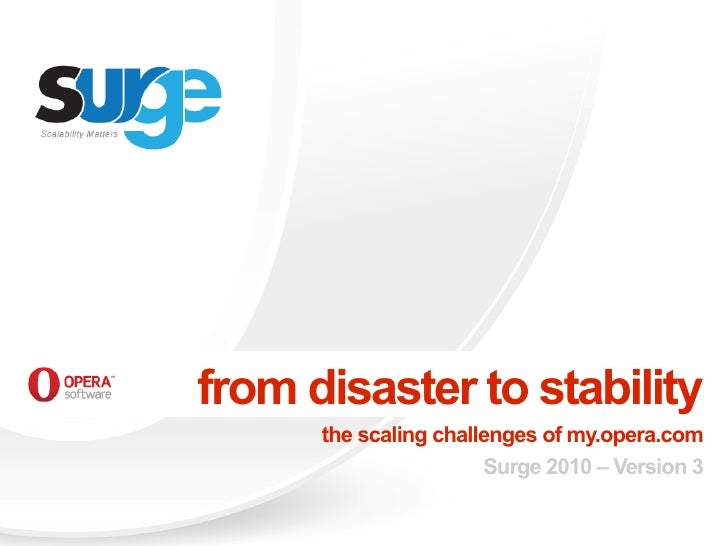 from disaster to stability       the scaling challenges of my.opera.com                        Surge 2010 – Version 3