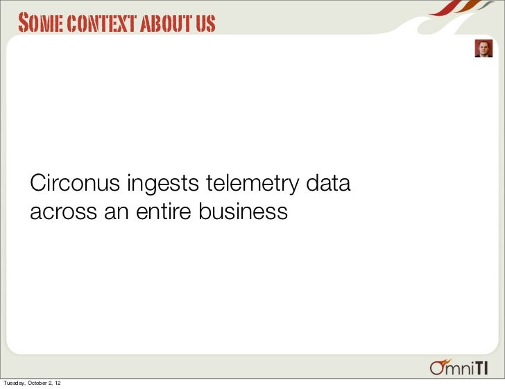 Some context about us          Circonus ingests telemetry data          across an entire businessTuesday, October 2, 12